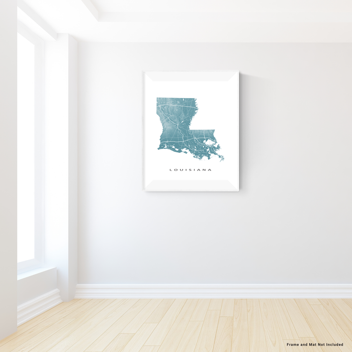 Louisiana state map print with natural landscape and main roads in Marine designed by Maps As Art.