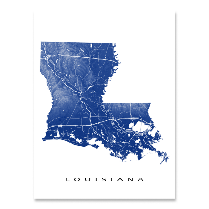 Louisiana state map print with natural landscape and main roads in Navy designed by Maps As Art.