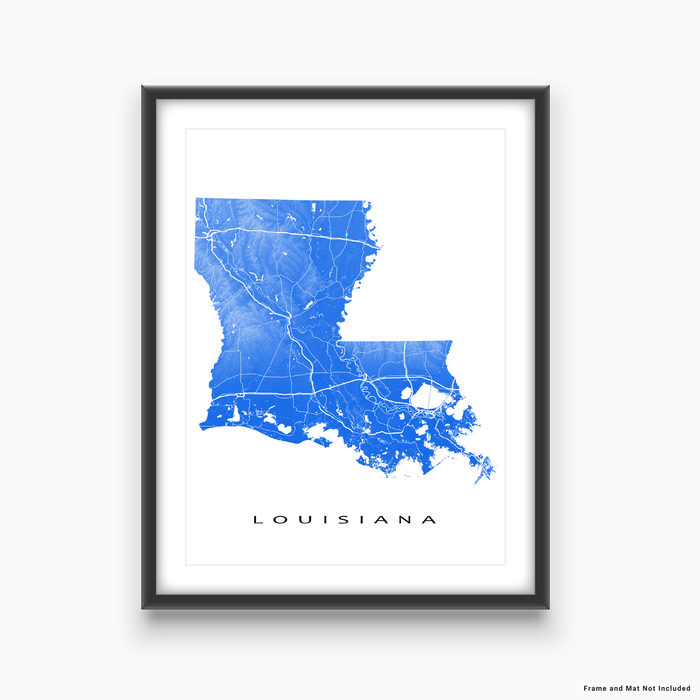 Louisiana state map print with natural landscape and main roads in Blue designed by Maps As Art.