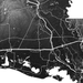 Louisiana state map print close-up with natural landscape and main roads designed by Maps As Art.