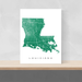 Louisiana state map print with natural landscape and main roads in Green designed by Maps As Art.