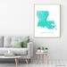 Louisiana state map print with natural landscape and main roads in Turquoise designed by Maps As Art.