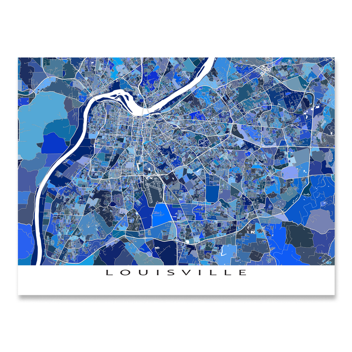 Louisville, Kentucky map art print in blue shapes designed by Maps As Art.