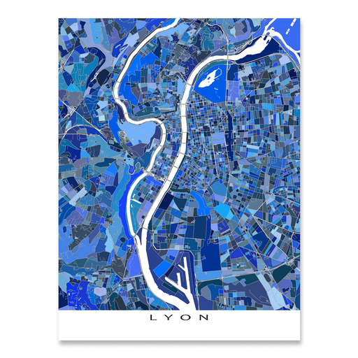 Lyon, France map art print in blue shapes designed by Maps As Art.