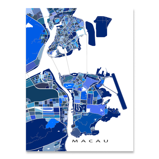 Macau map art print in blue shapes designed by Maps As Art.
