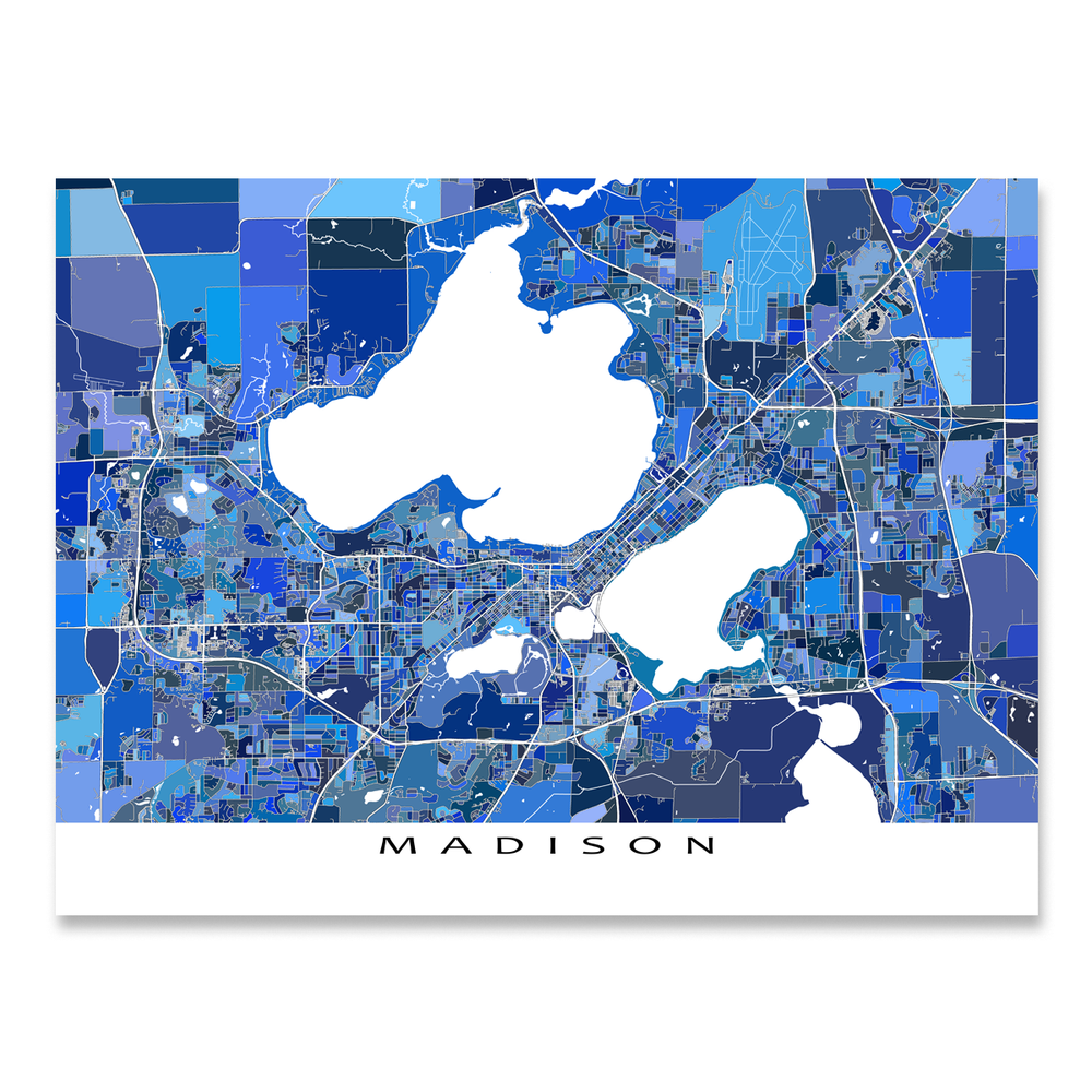 Madison, Wisconsin map art print in blue shapes designed by Maps As Art.