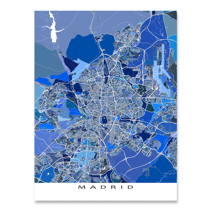 Madrid, Spain map art print in blue shapes designed by Maps As Art.