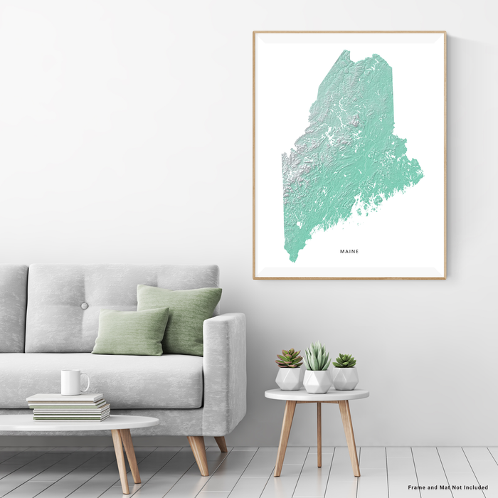 Maine state map print with natural landscape in aqua tints designed by Maps As Art.