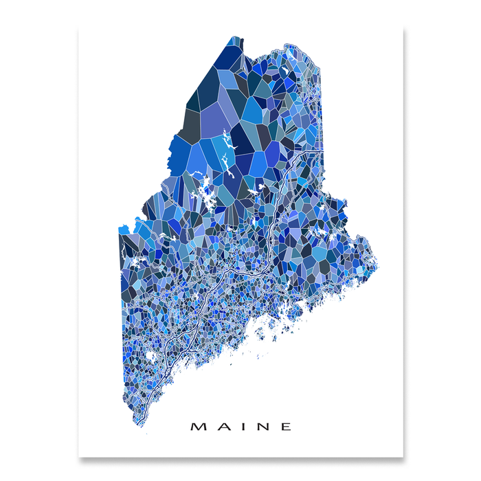 Maine Map Print Me State Maps As Art