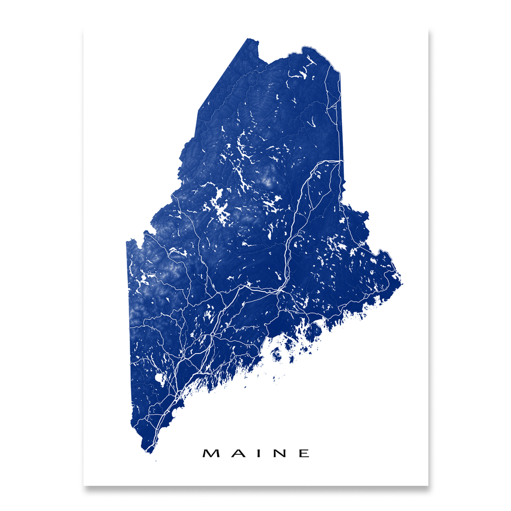 Maine Map Print, USA State, ME