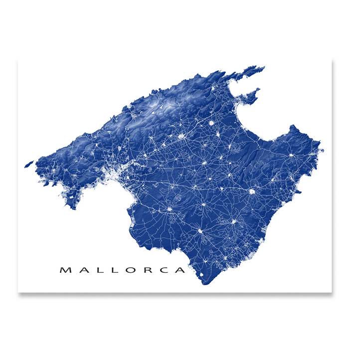 Mallorca, Spain map print with natural island landscape and main roads in Navy designed by Maps As Art.