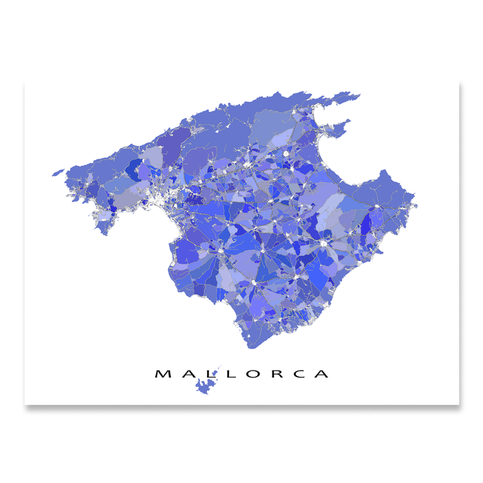 Mallorca, Spain map art print in blue, purple and lavender shapes designed by Maps As Art.