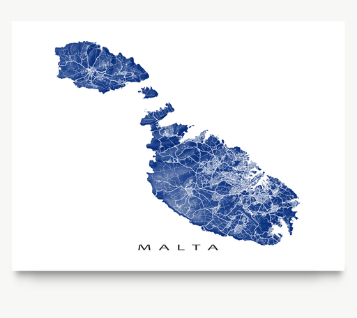 Malta map print with natural landscape and main roads in Navy from Maps As Art.
