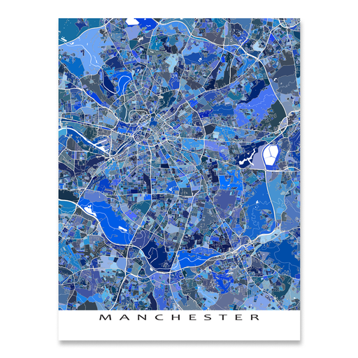 Manchester, England map art print in blue shapes designed by Maps As Art.