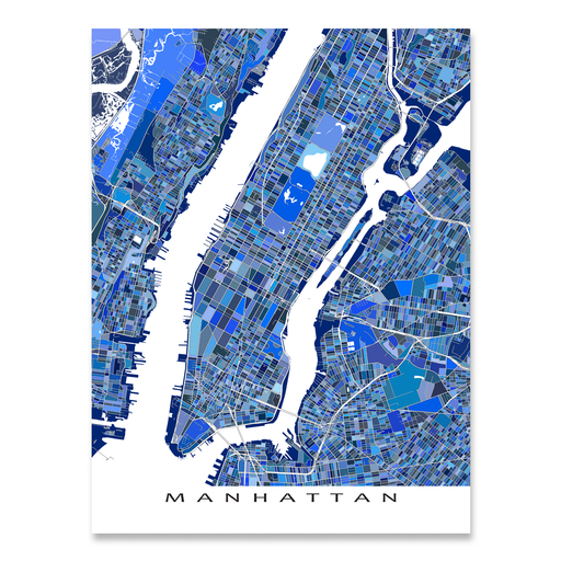 Manhattan, New York City map art print in blue shapes designed by Maps As Art.