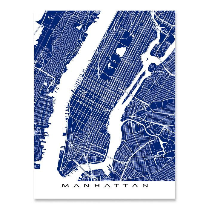 Manhattan, New York City map print with city streets and roads in Navy designed by Maps As Art.