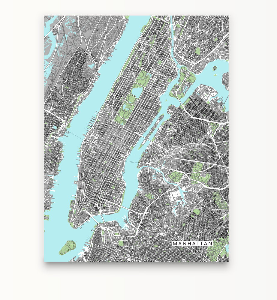 Manhattan, New York City map art print with city streets and buildings designed by Maps As Art.