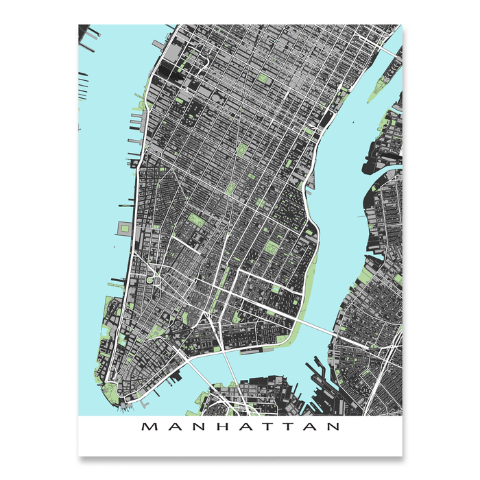 Lower Manhattan, New York City map art print with city streets and buildings designed by Maps As Art.