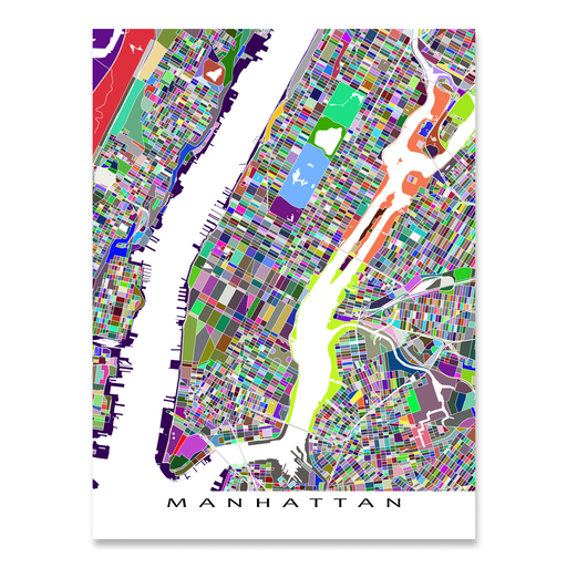 Manhattan, New York City map art print in multicolored shapes designed by Maps As Art.