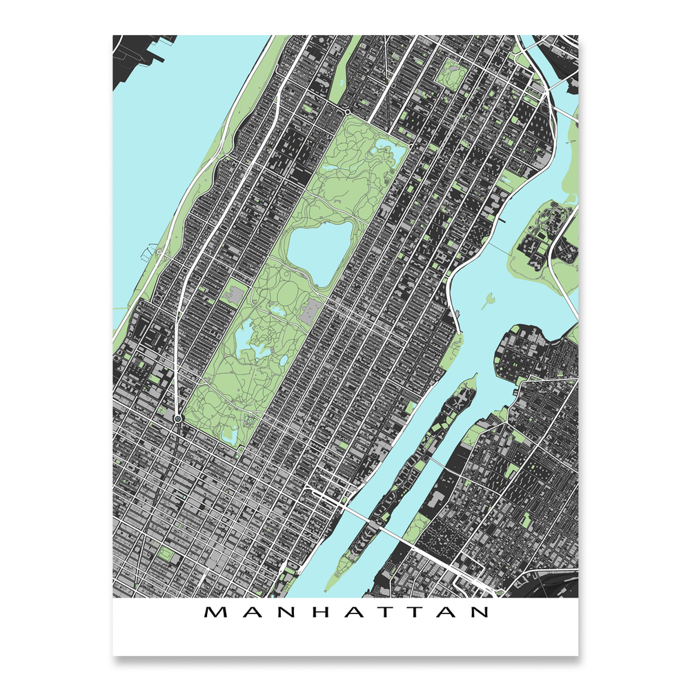 Central Manhattan, New York City map art print with city streets and buildings designed by Maps As Art.