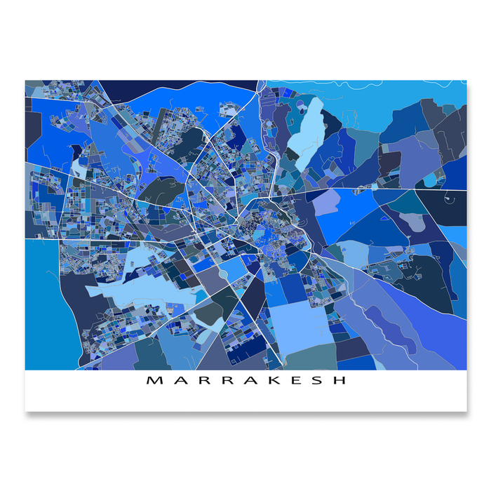 Marrakesh, Morocco map art print in blue shapes designed by Maps As Art.