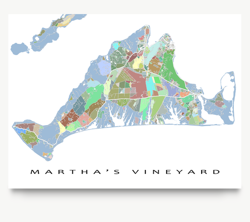 Martha's Vineyard island map art print in colorful shapes designed by Maps As Art.