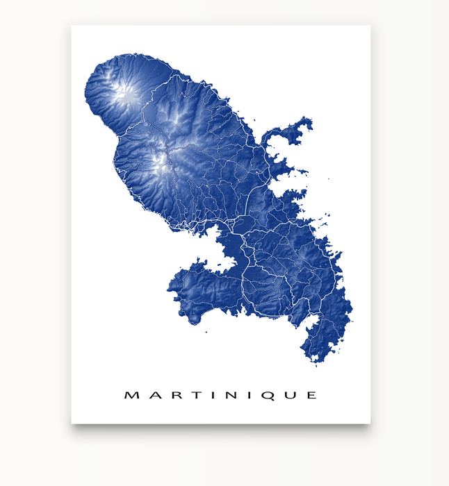 Martinique map print in Navy by Maps As Art.