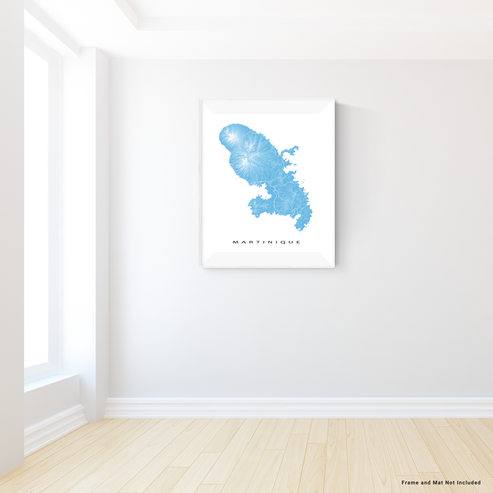 Martinique map print in Malibu by Maps As Art.