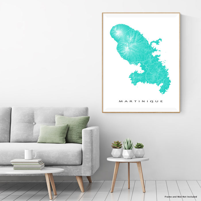 Martinique map print in Turquoise by Maps As Art.