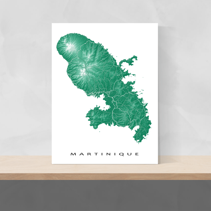 Martinique map print in Green by Maps As Art.