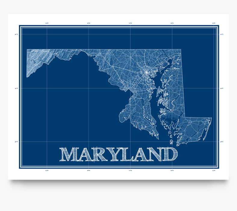 Maryland state blueprint map art print designed by Maps As Art.