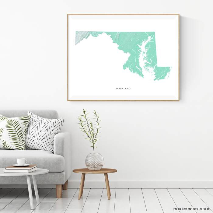 Maryland state map print with natural landscape in aqua tints designed by Maps As Art.