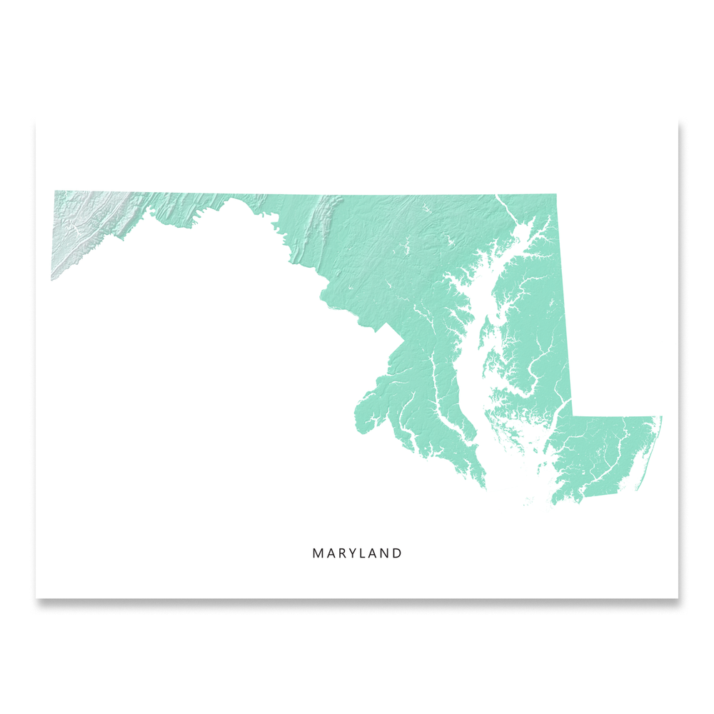 Maryland Map Print, Aqua Landscape