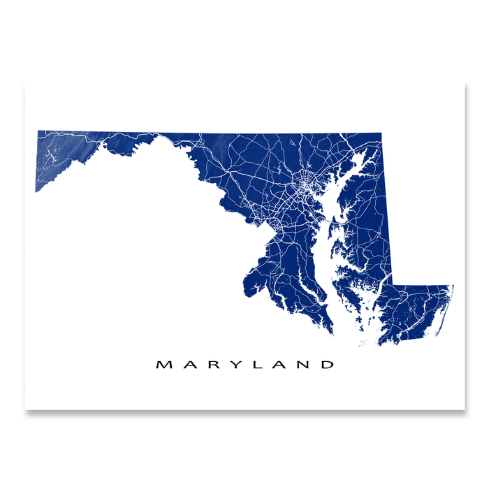 Maryland state map print with natural landscape and main roads in Navy designed by Maps As Art.
