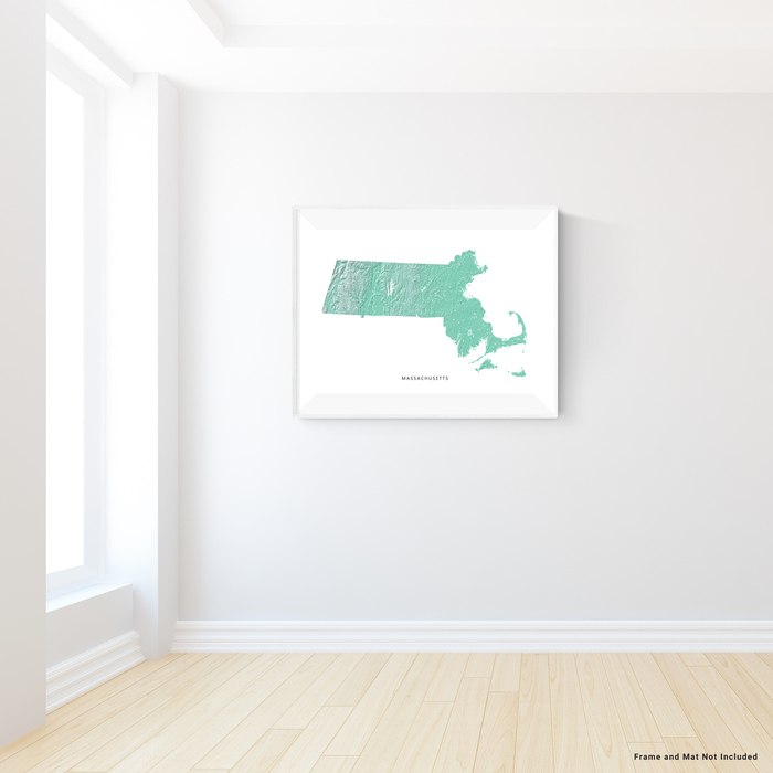 Massachusetts state map print with natural landscape in aqua tints designed by Maps As Art.