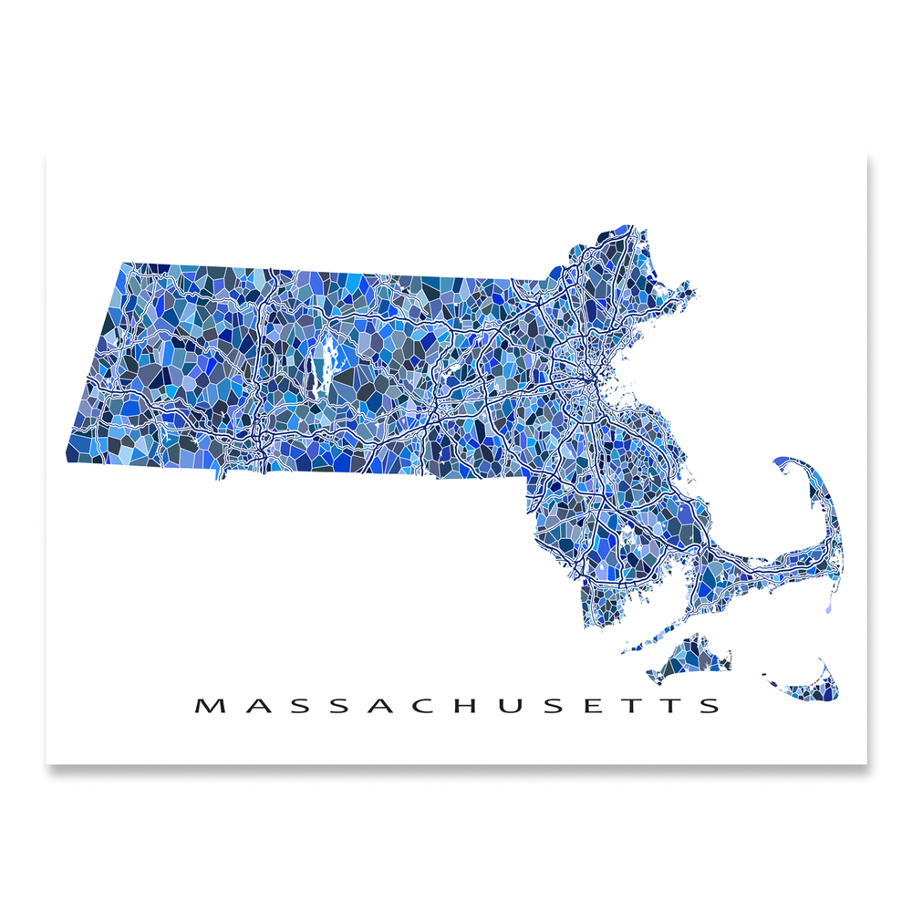 Massachusetts state map art print in blue shapes designed by Maps As Art.
