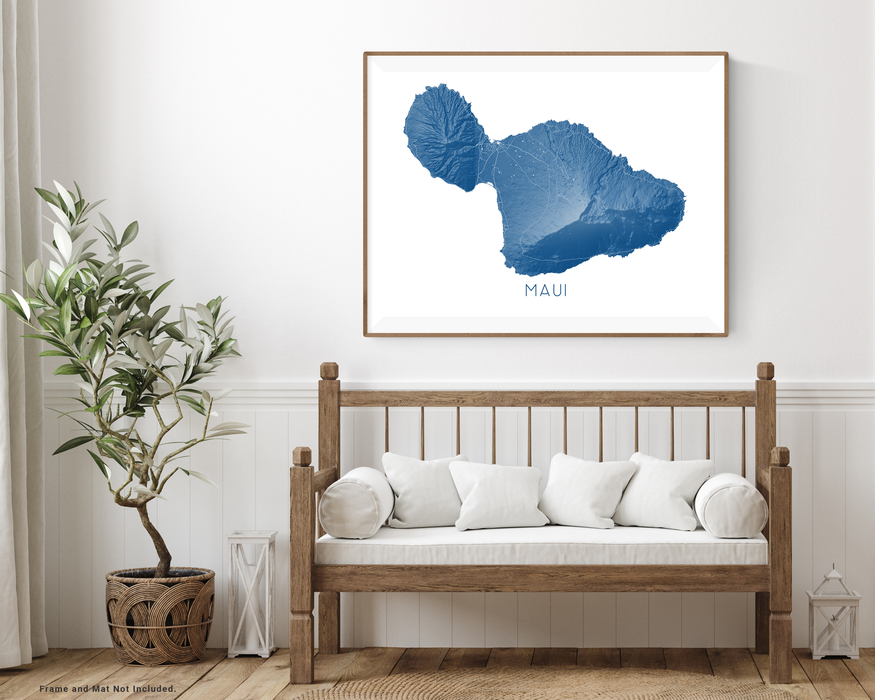 Maui Hawaii map print with wooden bench home decor by Maps As Art.