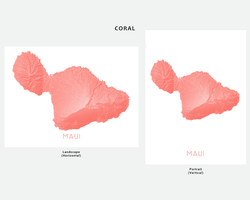 Maui Hawaii map print in Coral by Maps As Art.