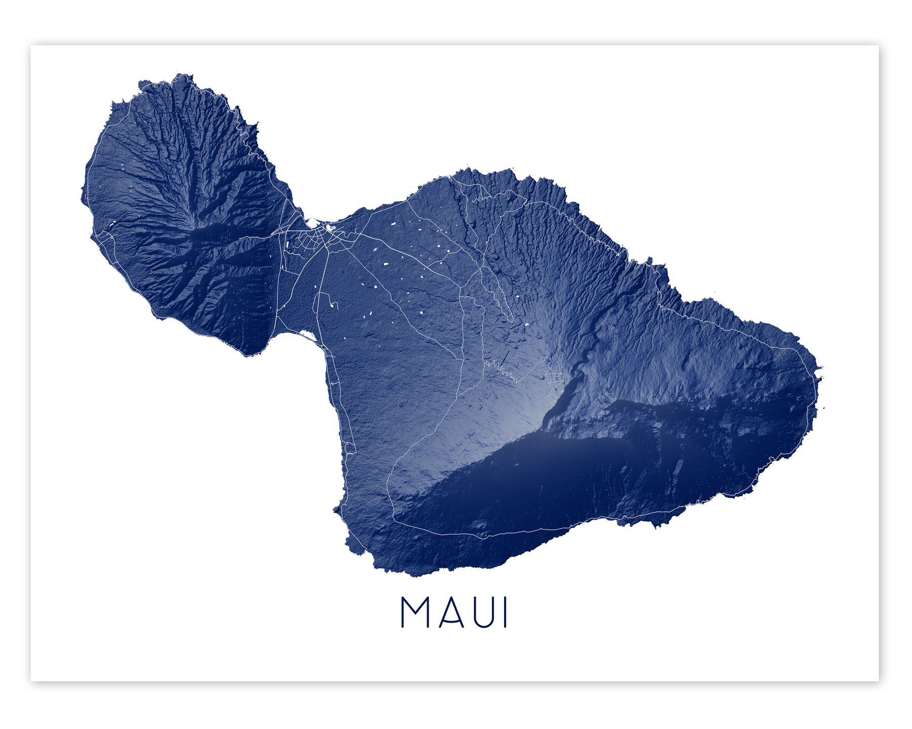 Maui Hawaii map print in Midnight by Maps As Art.