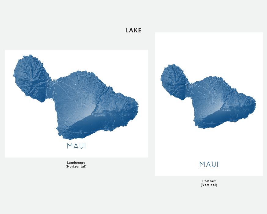Maui Hawaii map print in Lake  by Maps As Art.