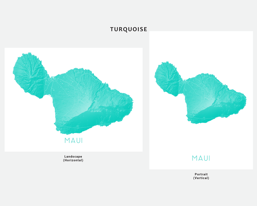 Maui Hawaii map print in Turquoise by Maps As Art.