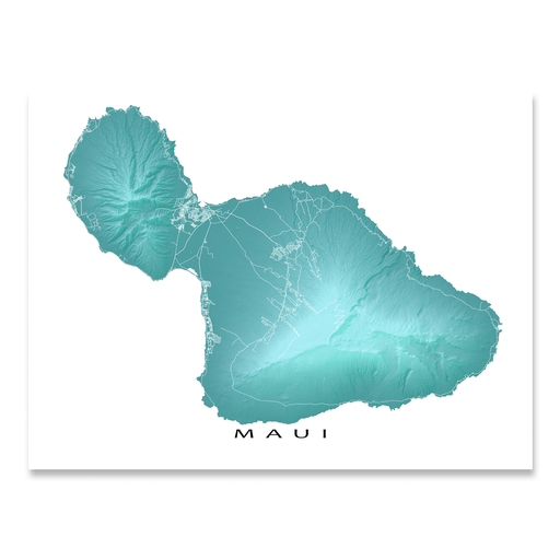 Maui, Hawaii map print with natural island landscape in aqua tints designed by Maps As Art.