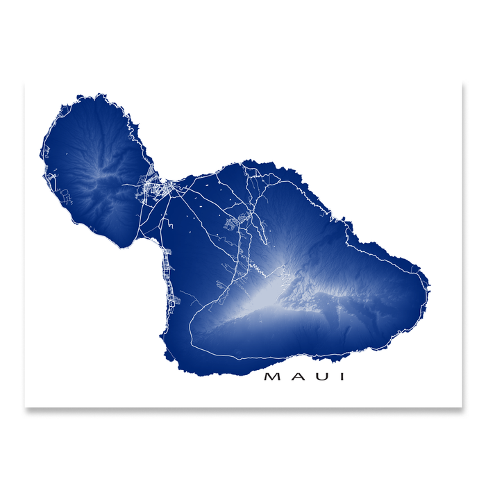 Maui, Hawaii map print with natural island landscape and main roads in Navy designed by Maps As Art.