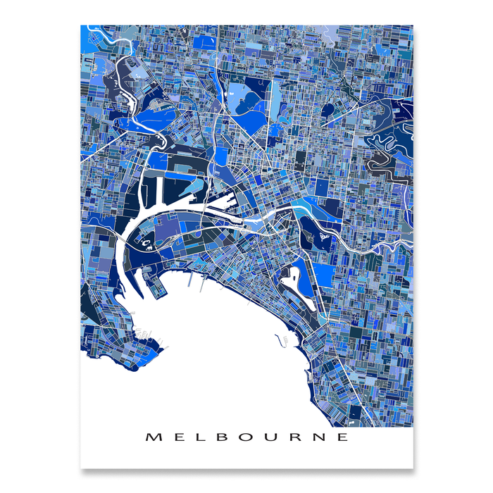 Melbourne, Austalia map art print in blue shapes designed by Maps As Art.