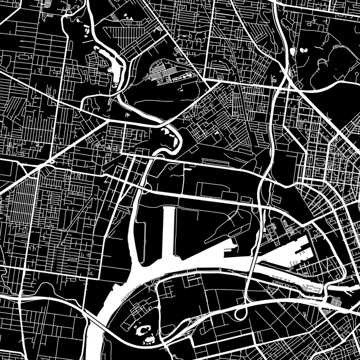 Melbourne, Australia map print close-up with city streets and roads designed by Maps As Art.