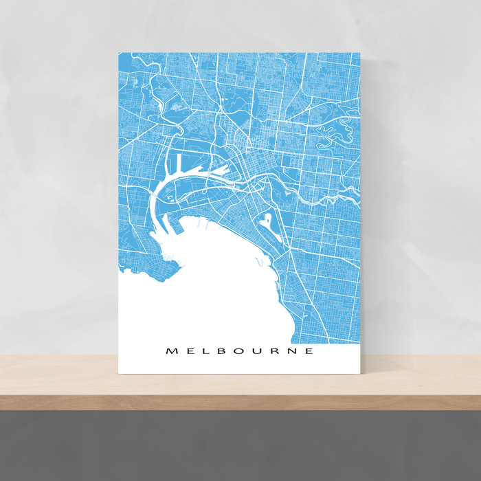 Melbourne, Australia map print with city streets and roads in Malibu designed by Maps As Art.