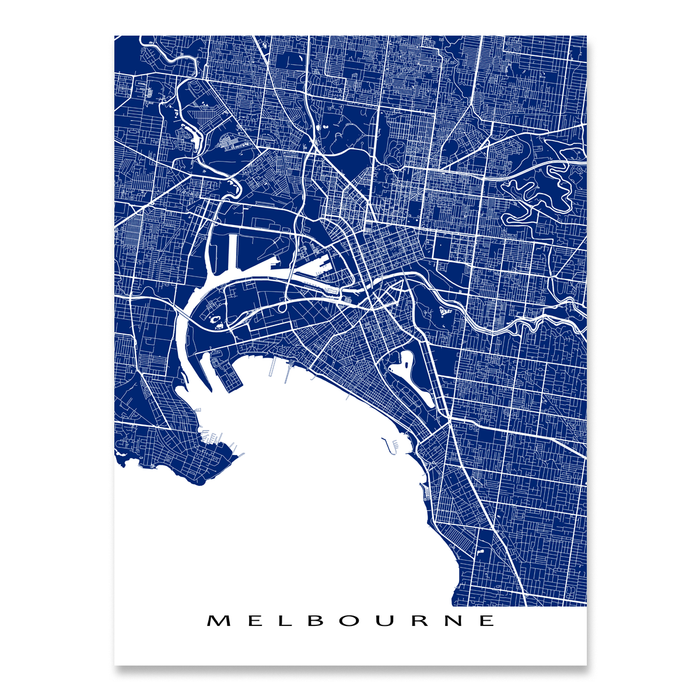 Melbourne, Australia map print with city streets and roads in Navy designed by Maps As Art.