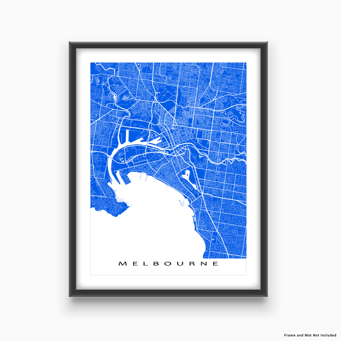 Melbourne, Australia map print with city streets and roads in Blue designed by Maps As Art.
