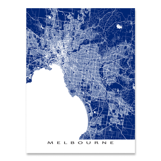 Melbourne, Australia regional map print with main roads in Navy designed by Maps As Art.