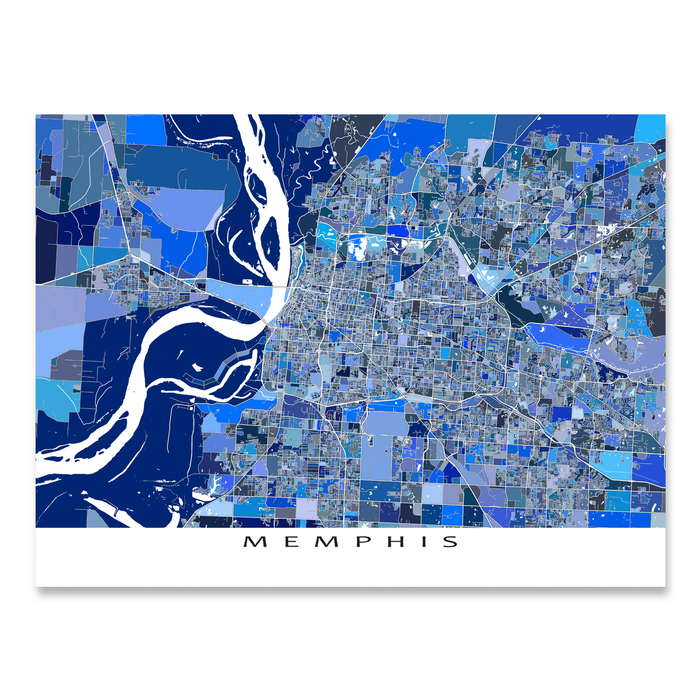 Memphis, Tennesee map art print in blue shapes designed by Maps As Art.